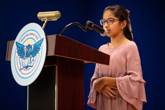 Windsor Park Elementary School student council member Ramla Ullah speaks during the ribbon-cutting ceremony at Windsor Park on Friday, Aug. 23, 2019.