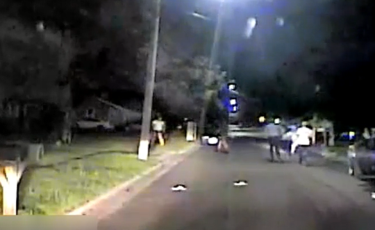 A still from a dashcam video shows the scene of a July 19 police shooting in Pemberton Township.