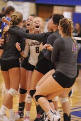 Unioto senior Hallie Pinkerton celebrates with teammates after the Shermans defeated Chillicothe 3-2 on Thursday Aug. 22, 2019 at Chillicothe High School.