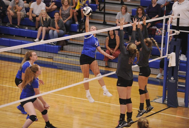 Chillicothe volleyball's Maleah Oney spikes the ball during a 3-2 loss to Unioto on Thursday Aug. 22, 2019 at Chillicothe High School.