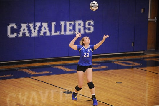 Chillicothe's Sophie Fulkerson serves the ball in a 3-2 loss to Unioto on Thursday Aug. 22, 2019 at Chillicothe High School.