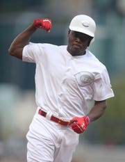 August 23, 2019: Cincinnati Reds right fielder Aristides Aquino (44) reacts while rounding the bases after hitting a solo home run against the Pittsburgh Pirates during the second inning of an MLB Players' Weekend game at PNC Park.