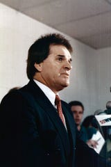 AUGUST 24, 1989: Pete Rose speaks to the media.