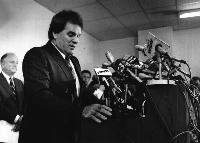 AUGUST 24, 1989: Pete Rose searches for words as he first stepped to the podium for press conference at Riverfront Stadium.