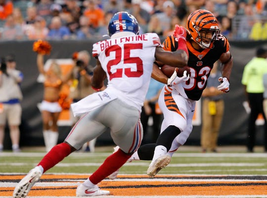 Cincinnati Bengals wide receiver Tyler Boyd (83) runs with a reception in the second quarter of the NFL Preseason Week 3 game between the Cincinnati Bengals and the New York Giants at Paul Brown Stadium in downtown Cincinnati on Thursday, Aug. 22, 2019. The game was tied 10-10 at halftime.