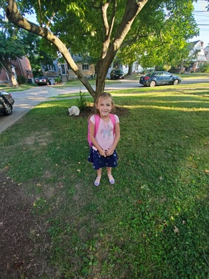 Sydney Whitaker on her first day of school in August, 2019