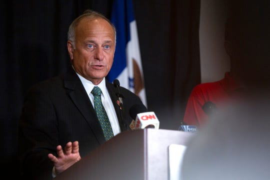 """U.S. Rep. Steve King, R-Kiron, speaks at a """"No Exceptions to Life"""" conference Friday, Aug, 23 at Des Moines' Airport Holiday Inn. Joined by Rebecca Kiessling, Caitlyn Dixson, Maggie DeWitte, and other state pro-life leadership, King maintained his stance that that there may not be """"any population of the world left"""" if people conceived by rape and incest had not been born."""