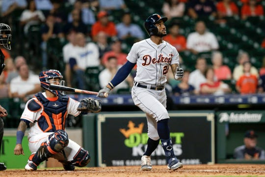 Niko Goodrum hits a solo home run in the ninth inning.