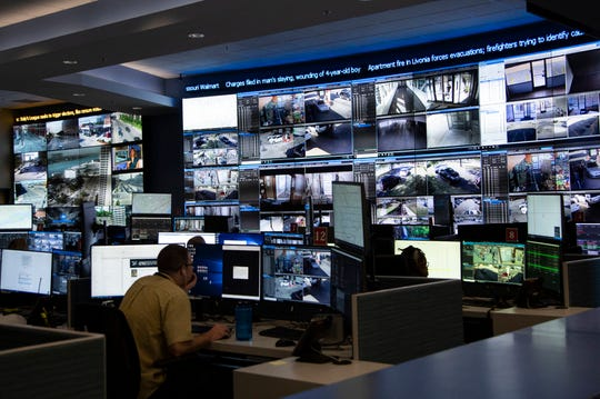 Inside the Detroit Police Department's crime intelligence center Friday, Aug. 9, 2019.