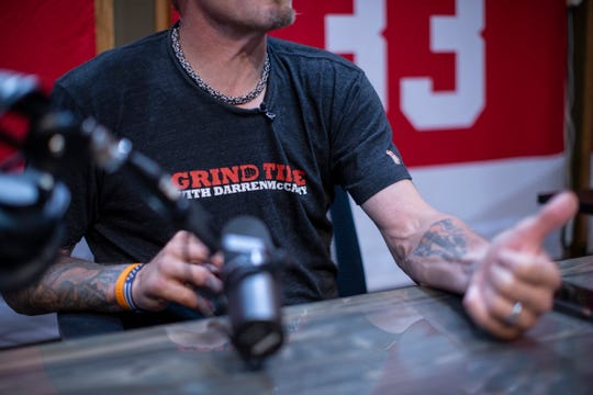 Darren McCarty speaks to Free Press reporter during an interview at his podcast studio in Franklin, Wednesday, August 21, 2019.