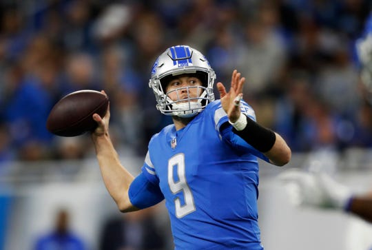 Detroit Lions quarterback Matthew Stafford passes against the Minnesota Vikings in Detroit, Dec. 23, 2018.