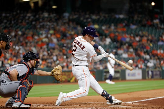 Alex Bregman hits a two-run home run in the fourth inning Thursday in Houston.