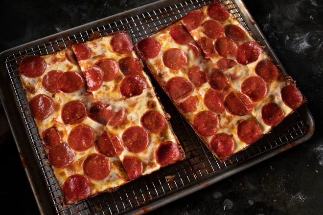 Jet's Pizza 8 corner pizza.