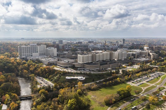 An aerial view of University of Michigan Hospital.