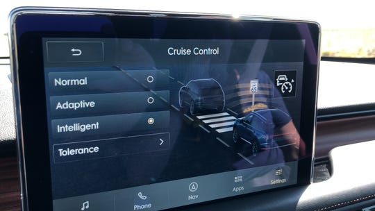 Drivers can select which cruise control and set a speed above or below the posted limit on the Aviator's touch screen.