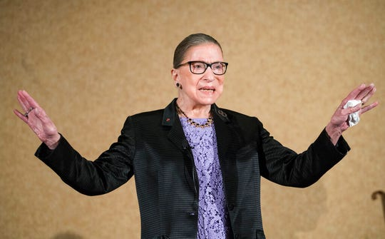 In this Aug. 19, 2016, file photo U.S. Supreme Court Justice, Ruth Bader Ginsburg, is introduced during the State Bar of New Mexico's Annual Meeting in Pojoaque.  The Supreme Court announced Aug. 23, 2019, that Ginsburg has been treated for a malignant tumor.