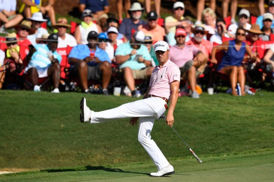 Justin Thomas reacts as he misses a putt for eagle on the 18th hole during the first round of the Tour Championship on Thursday.