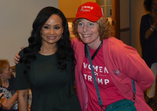 "Hosted by the Trump Victory Leadership Initiative (TVLI), Trump Re-election Campaign Senior Adviser Katrina Pierson, left, poses for a photo with Sandra Haroutunian, Clinton Township, at ""An Evening to Empower"" held in the American Polish Cultural Center in Troy, Michigan on August 22, 2019. (Brandy Baker / Special to the Detroit News)"