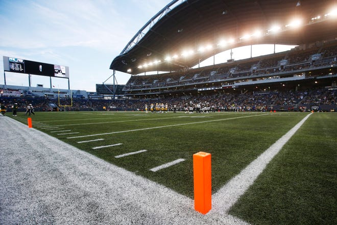 Pylons mark the modified end zone during the first half of Thursday's preseason game between the Raiders and Packers in Winnipeg, Manitoba.
