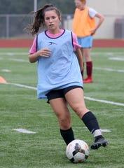 Ireland Krawczyk of the Elmira girls soccer team practices Aug. 22, 2019 at Ernie Davis Academy.