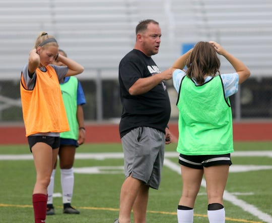 Zach Sarno, shown leading practice Aug. 22, 2019, is in his ninth season as head coach of the Elmira girls soccer team.