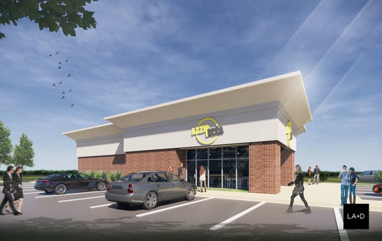 A rendering of the new Azzip Pizza location on Evansville's North Side.