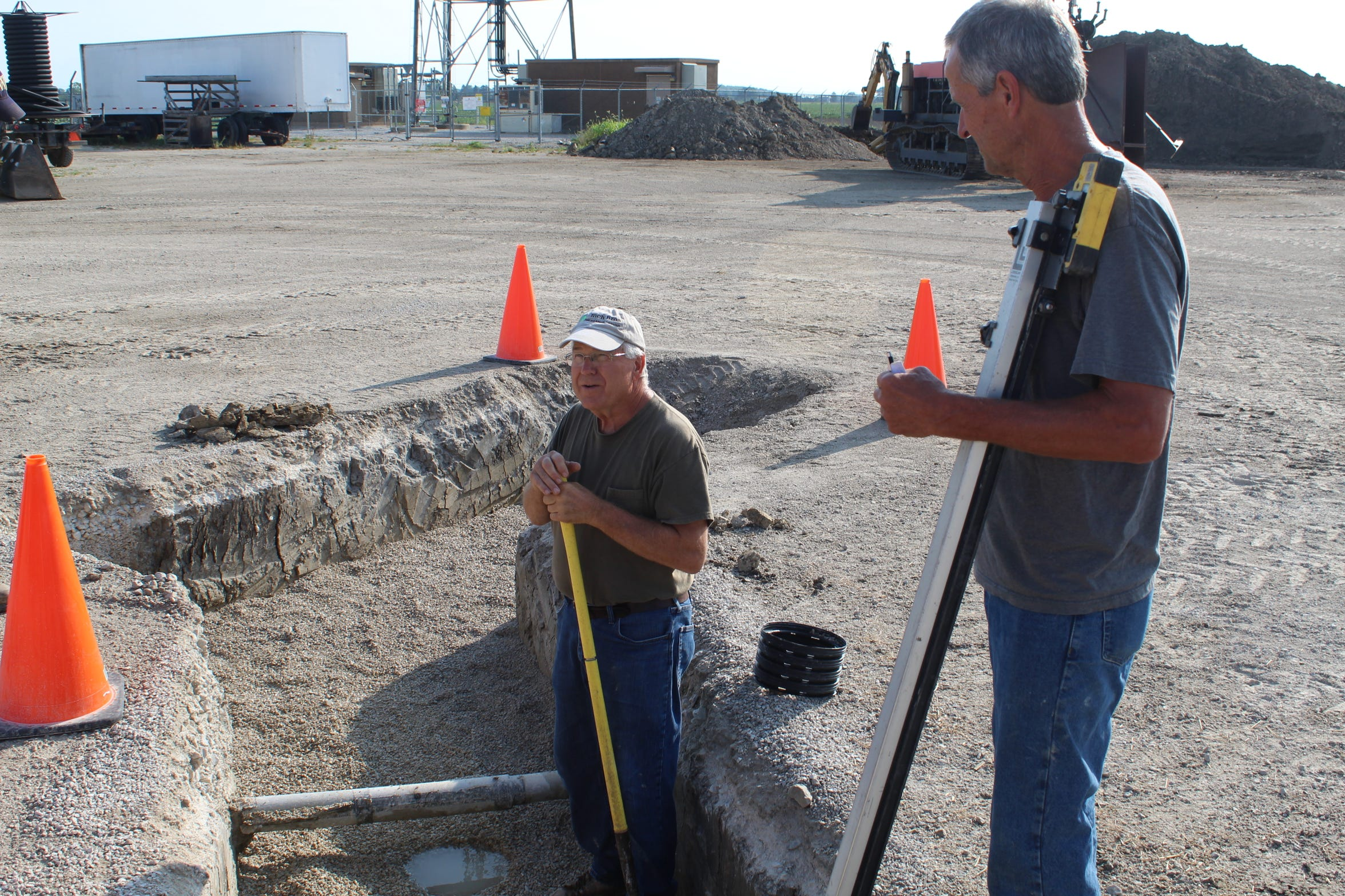 John and Bill Emch, Woodville-based drainage contractors for Emch Bros. Inc., were at Chad Gargas' Genoa farm in mid-August digging a trench for new drainage tile. The Emches have been in business 45 years, but haven't seen a farming season as bad as 2019.