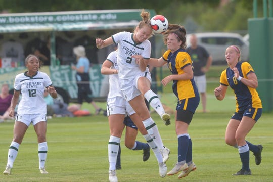 CSU soccer player Addie Wright, shown winning a header in a 2-0 win over Marquette on Aug. 22, 2019, and her teammates will play a home game against the University of Denver at 4 p.m. Friday.