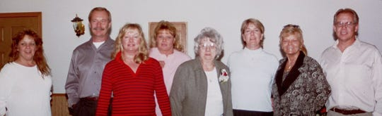 Tammy Goff, third from right, is shown with her immediate family. From left to right: sister Bobbi Barwick, brother Mike Lewison, sister Patti King, sister Suzie Marquart, mother Nadine Lewison, Tammy, sister Sharon Smith and brother Eric Lewison. Tammy's mother and sister Sharon have passed away since this photo was taken.