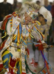 Ronald Windy Boy of Rocky Boy dances at the 2013 Little Shell traditional powwow in Great Falls. TRIBUNE PHOTO/LARRY BECKNER