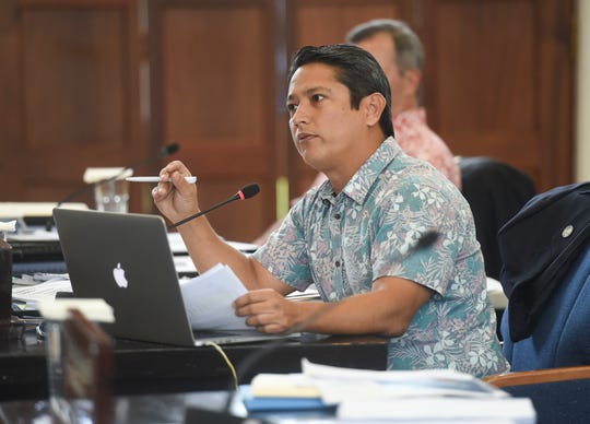 Sen. Wil Castro speaks during a session at the Guam Congress Building in Hagåtña, Aug. 23, 2019.