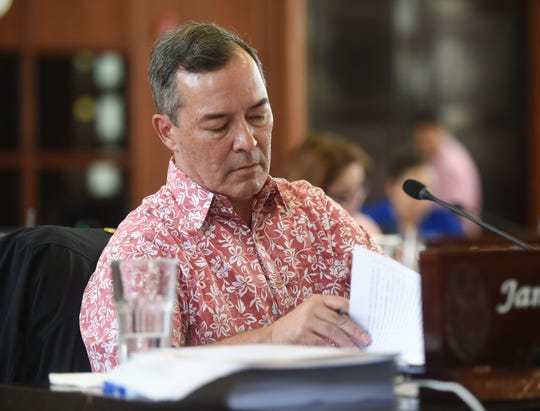 Sen. James C. Moylan during a session at the Guam Congress Building in Hagåtña, Aug. 23, 2019.