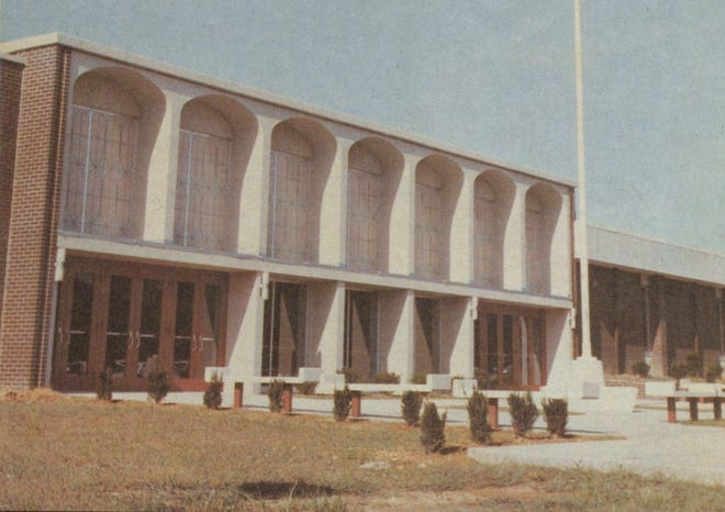 Henderson County High School as it appeared in the 1970 yearbook. The building opened at the beginning of the 1969-70 school year after months of delays on the part of the contractor.
