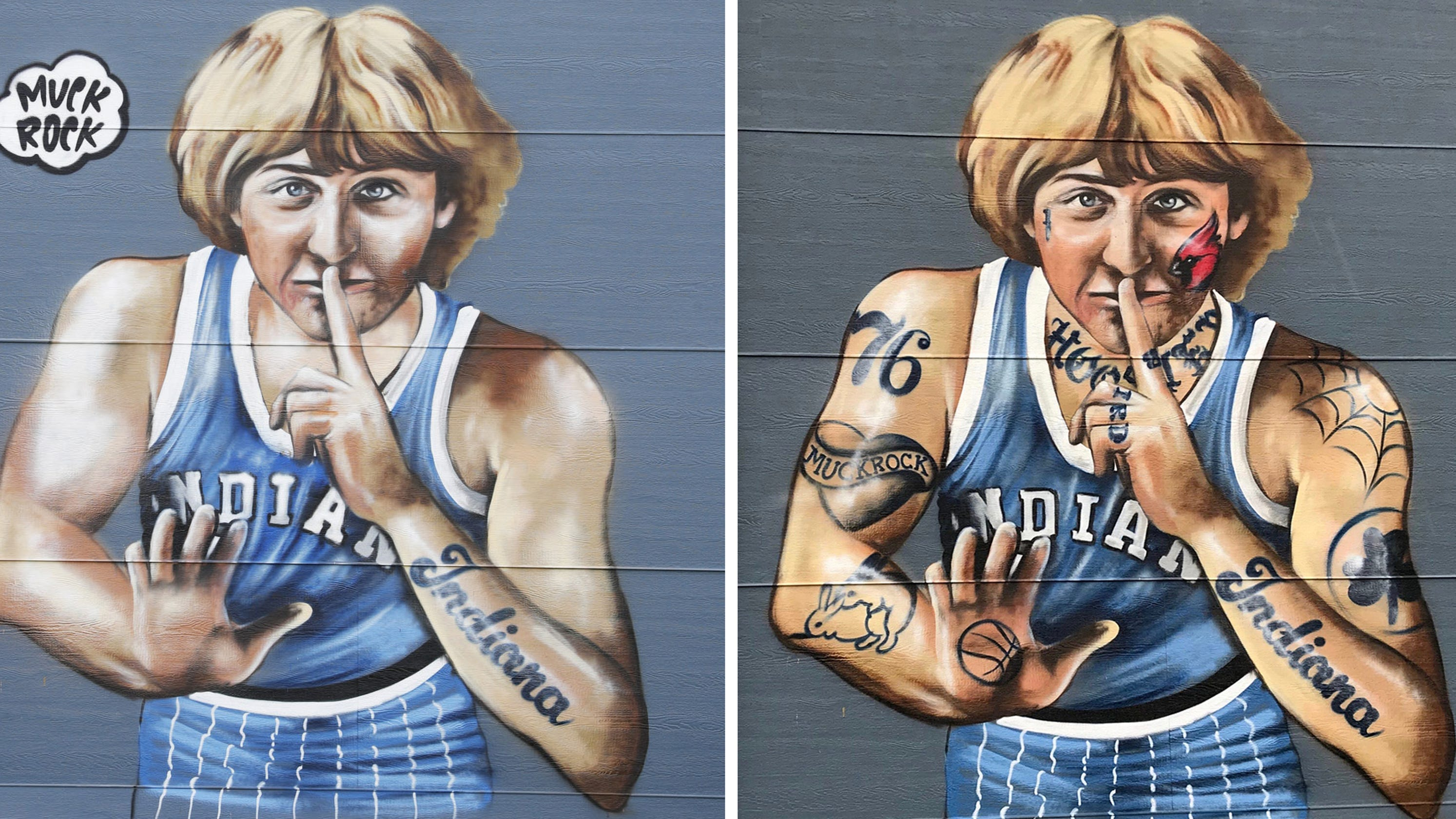 See the Larry Bird mural after artist removed nearly all tattoos at the NBA legend's request