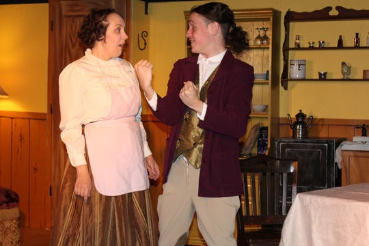 "Meaghan Harding and Connor Maccabee play Louise Maske and Frank Versati respectively in the Aug. 22 dress rehearsal for Run of the Mill Theatre's most recent production: ""The Underpants."""