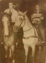 Elvis Presley and June Juanico enjoyed riding horses at Gulf Hills Hotel in the early 1950s.