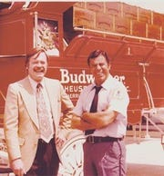 Marketing pro Bob Brandon with entertainer Jerry Lewis and the Clydesdales.