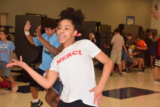 "Chloe Dodson, 12, gets the party started at the Hardin Valley Middle School ""Back to School"" dance Tuesday, Aug. 20. 2019"