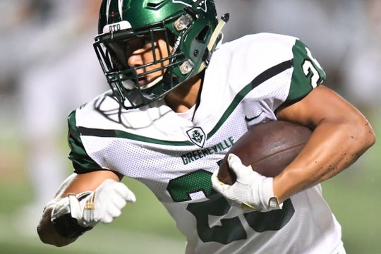 Greeneville's Mason Gudger (25) in the high school football game at Powell on Thursday, August 22, 2019.