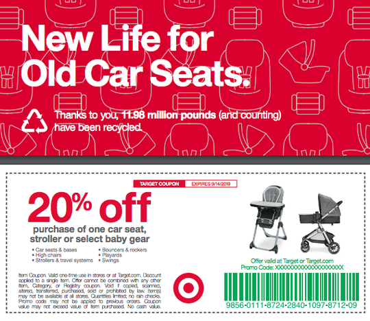 The Target carseat trade-in starts Sept. 3, 2019.