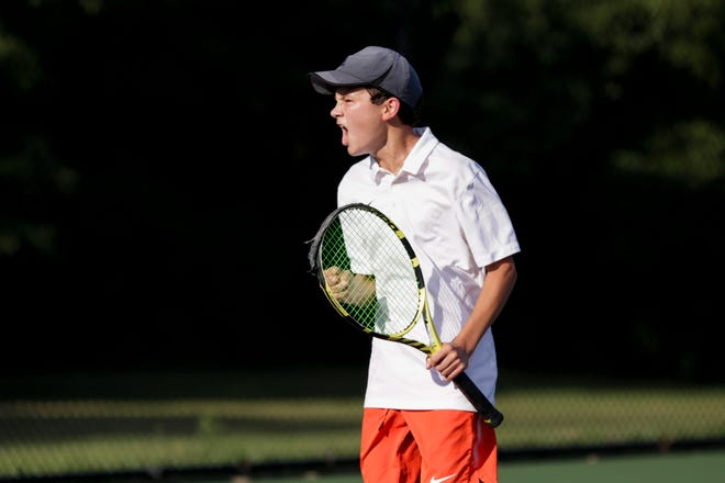 West Lafayette's Aidan William reacts after defeating Harrison's Isaac Flanery during an IHSAA tennis match, Thursday, Aug. 22, 2019 at Harrison High School in West Lafayette. William won, 6-1, 7-6 and 7-5.