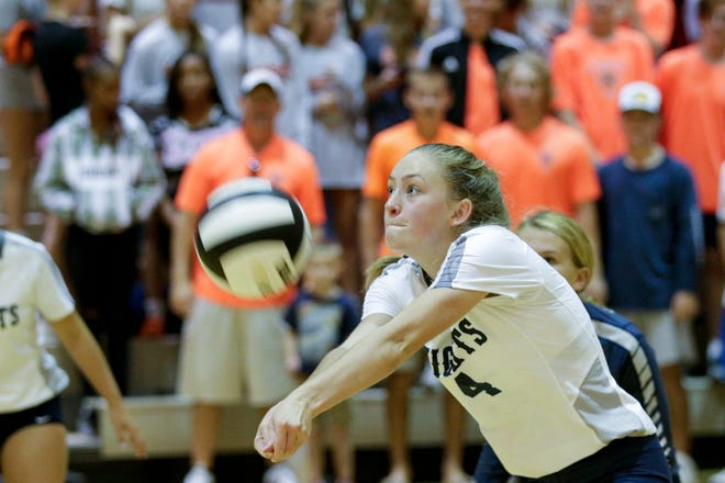 Lydia Baker had 11 digs for Central Catholic in a sweep over Crawfordsville.