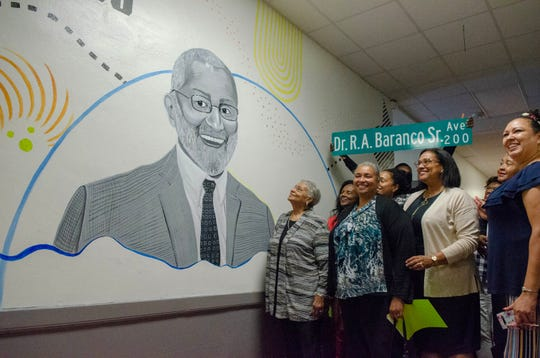 A painting of the late Dr. Baranco was revealed at Dr. Raphael A. Baranco Elementary to his family at a community open house Thursday, Aug. 22, 2019.