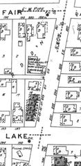 This section of the 1929 Sanborn Fire Insurance Map shows the Hoskins' house on the corner, a garage south of their house, and the filling station on the SW corner of Lake and High streets.