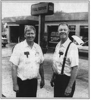 This photo of Ron and Rich Engle in front of their Shell Service Station appeared in the E-G on July 3, 1994. The Engle brothers were retiring after 42 years of service.