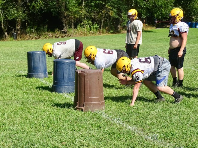 Berne Union offensive lineman got through drills during practice. The Rockets are coming off an 8-3 season that saw them qualify for the playoffs.