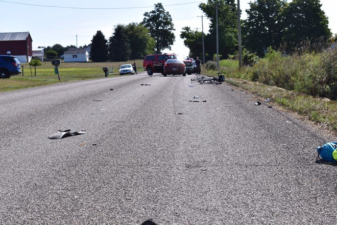 Two bicyclists were seriously injured Aug. 22 after they were struck by a vehicle in Eaton Rapids, Michigan State Police said.