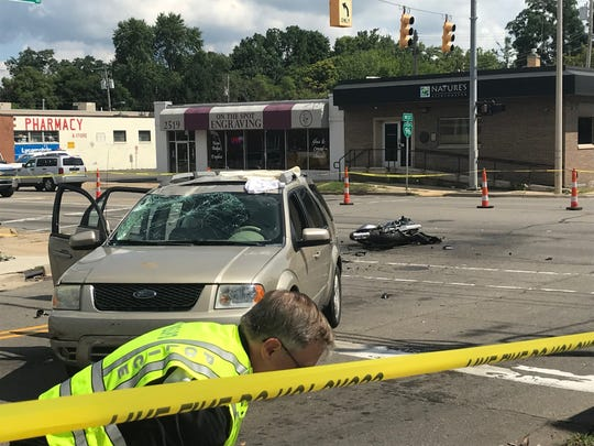 A 24-year-old Lansing man was killed in a crash involving a motorcycle and a sedan on Aug. 21 at the Cedar Street and Greenlawn Avenue intersection.