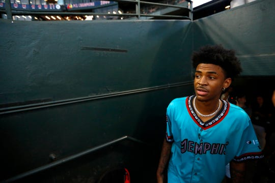 Memphis Grizzlies first overall pick Ja Morant in attendance before the Redbirds game AutoZone Park to throw out the ceremonial first pitch on Thursday, Aug. 22, 2019.