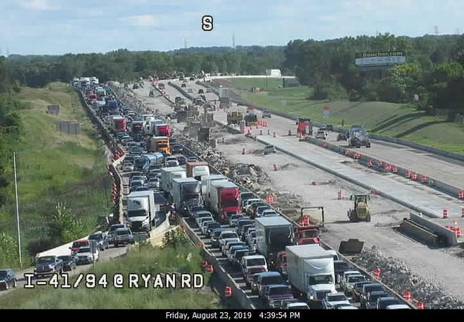 Traffic was backed up on I-94 at Ryan Road. A crash involving an SUV and a motorcycle closed all northbound lanes for 4 1/2 hours.